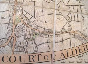 1806 map of Camberwell, London England.
