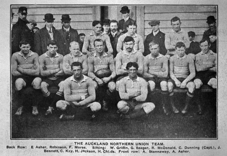 The Auckland Northern Union Team 1911 - Alexander seated front left - Sir George Grey Special Collections.