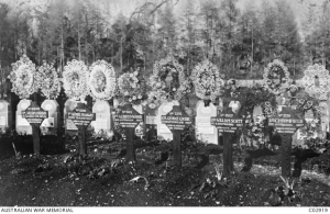 Vevey (St Martins) Cemetery in Switzerland - Albert's Cross second from the left - Australian War Memorail Collection C02919.
