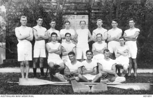 Interned Australians, New Zealanders and Canadians, prisoners of war who have been transferred to Switzerland, who took part in the Aquatic Sports at Interlaken Switzerland, July 1918 - Australian War Memorial Collection A01691.