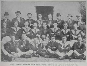 City District football club senior team, winners of the Auckland Rugby Union Championship 1900. - Sir George Grey Special Collections.