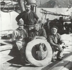 Captain Daniel on the scow Rambler - Barney Daniel Collection.