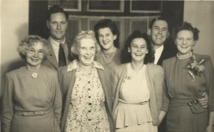Monty's Family - back row - Len, Clem, Monty Jr, Joy - Front Row Ida Daniel, Muriel and Millie. - Barney Daniel Collection.