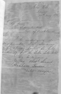 Letter 27 May 1873 from Abraham Taonui. - Colleen Stanaway Collection.