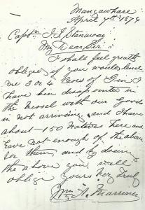 Mariner's Letter 1874