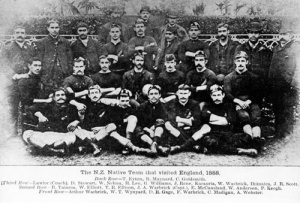 This team photo is thought to have been taken before the Middlesex match in October 1888. Back row: Thomas Eyton (co-promotor), R. Maynard, C. Goldsmith. Third row: J. Lawlor (coach), D. Stewart, W. Nehua, H.H. Lee, G.A. Williams, T. Rene, Wi Karauria, William Warbrick, E. Ihimaira, J.R. Scott (manager). Second row: R.G. Taiaroa, W. Elliott, T.R. Ellison, J.A. Warbrick (captain), E. McCausland, W. Anderson, P. Keogh. Front row: Arthur Warbrick, H.J. Wynard, D.R. Gage, F. Warbrick, C. Madigan, A. Webster.
