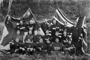 Above: The team members are: (back row) Arthur Warbrick, Alexander Webster, James Scott (manager), George Williams, William Warbrick, Alfred Warbrick; (middle row) 'Smiler' Ihimaira, William Wynyard, David Gage, Joe Warbrick, Fred Warbrick, Henry Wynyard; (front row) Richard Taiaroa, Thomas Ellison, Richard Maynard, Wi Karauria and Charles Goldsmith.