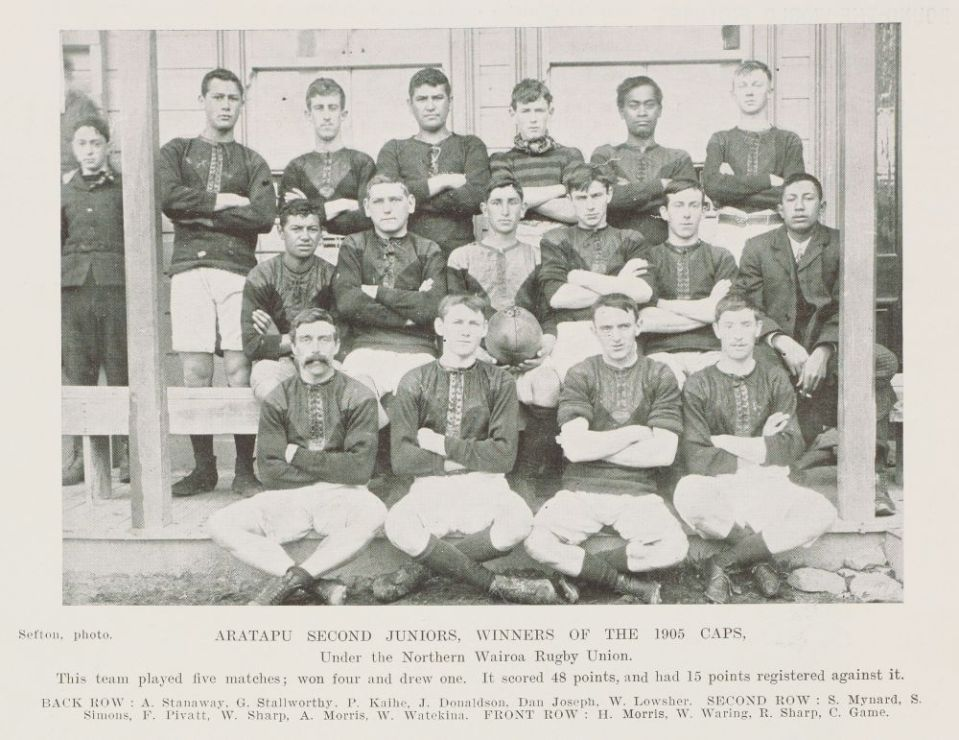Aratapu Second Juniors - Winners 1905 Caps - Alexander back row on left - Sir George Grey Special Collections.