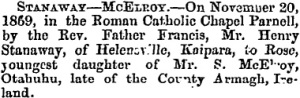 Marriage Notice - New Zealand Herald 21 January 1870.