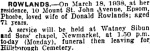 Phoebe's Death notice - New Zealand Herald 21.03.1938