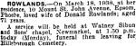 Phoebe's Death notice - New Zealand Herald 21.03.1938