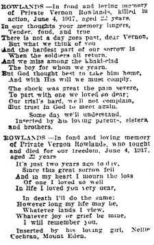 Vernon's Death Notice - Auckland Star 04.06.1919