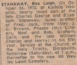 Rex's Death Notice - Colleen Stanaway Collection.