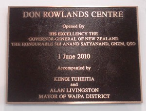 The Don Rowlands Centre Plaque.
